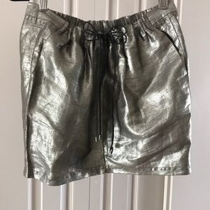 Really cool linen metallic mini skirt small